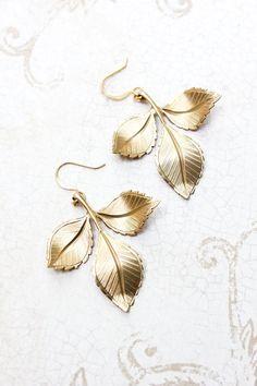 Branch Earrings Fall Autumn Earrings Gold Leaf by apocketofposies