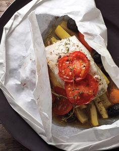 Halibut, Squash, Tomatoes, and Olives Recipe