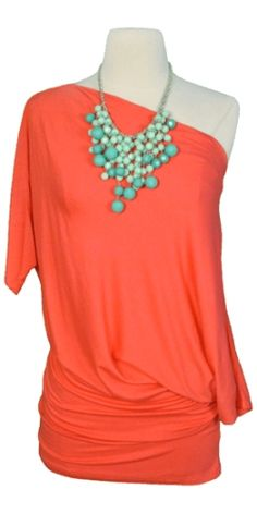 Love the bubbly beads. Coral tunic & turquoise statement necklace
