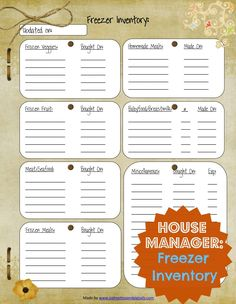 House Manager: Freezer Inventory Template   Palmettos and Pigtails House Manager: Freezer Inventory Template   A Southern Mama's Thoughts….