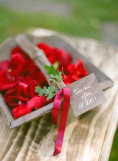 red rose petal wedding toss