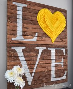 #DIY #Pallet Art | Pop of yellow #heart accented wall #art.