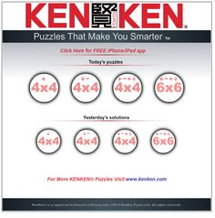KenKen is a puzzle game that helps students improve their calculation skills, logical thinking and persistence. The goal is to fill a grid with numbers so that no number appears more than once in any row or column. In addition, the numbers must combine to form a target number using a specific operation.
