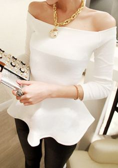 Off-Shoulder Neckline Top - White  - black and white fashion