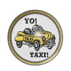 """Yo! Taxi! (Child's Plate) - One of my favorite pedal cars was a Victor Schreckengost design copying the bright yellow Checker Taxi Cabs that were everywhere in the 1950's. This cool 10"""" round melamine plate w/ an original rendering by digital artist, Leslie Sigal Javorek, brings back those happy childhood memories. Matches my matching personalized mug."""