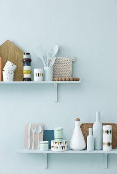 interior, kitchen shelves, ferm live, crochet potholders, blue walls, color, wall shelves, kitchen products, wall colours