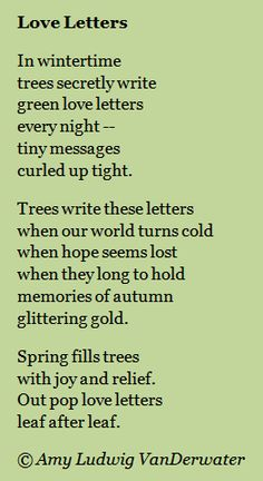 The Poem Farm: Love Letters and Chalk Poems | growing poetry and lessons for all ages...  This poem about trees writing in winter would be good to teach children about personification!  From The Poem Farm, Amy Ludwig VanDerwater's ad-free, searchable blog full of hundreds of poems, poem mini lessons, and poetry ideas for home and classroom - www.poemfarm.amylv.com
