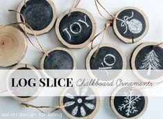 chalkboard ornaments, diy log, slice chalkboard, christmas trees, log slice
