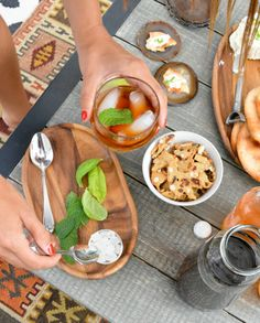 An easy afternoon spread.  Iced tea with fresh herbs and sugar to add in to taste.