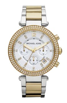 Be on time in style. Michael Kors gold and crystal watch.