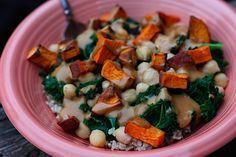 brown rice, rice bowls, kale recipes, bird food, sauce recipes, potatoes, peanut butter, sweet potato, vegetarian recipes