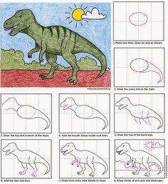Art Projects for Kids: Draw a T-Rex. Free pdf tutorial. #artprojectsforkids #howtodraw #dinosaur