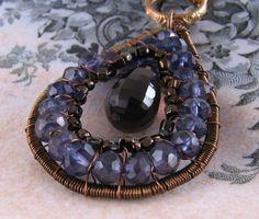 Iolite Smoky Quartz brown blue wire wrapped necklace $42