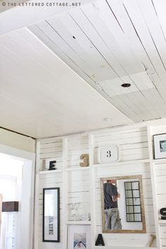 Ceiling Ideas | The Lettered Cottage . . . covering up popcorn or any other kind of undesirable ceiling with planks from Lowes.  Cost about 100 dollars to do her entire dining room!