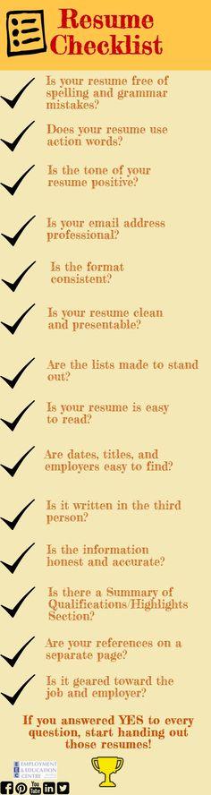 Last minute checklist when preparing your resume