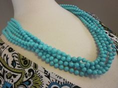 Vintage 6-Strand Tiffany Blue Beaded Necklace