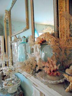 mirrors, blue bottles & sea life