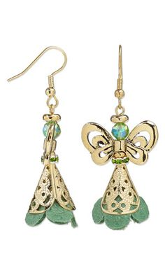 Earrings with Suede Components, Gold-Plated Brass Cones, Antiqued Gold-Plated Pewter Beads and Celestial Crystal® Beads