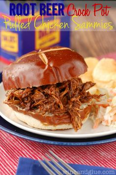 Root Beer Crock Pot Chicken Sammies | www.wineandglue.com | A super simple and delicious slow cooker meal!