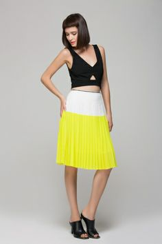 Yellow color block skirt