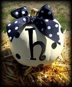 Adorable Monogram WHITE pumpkins....Personalized