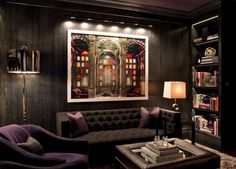 brown and purple are sulty mix in this NYC sitting room by Eric Cohler design