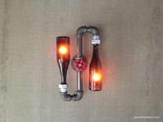 Beer Bottle Lamp - Industrial Sconce - Steampunk Lighting - Shlitz Brewery - New wine old bottles, etsy.  do with bare edison bulbs in powder room? or hall?