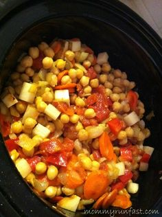 Chickpea Curry prepped in the crock pot-- good with Quinoa with toasted almonds and dried cranberries