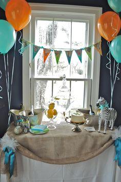 Vintage Safari Birthday Party- like the teal & orange w/animal print