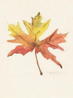 Maple leaf, Original watercolor art, still life painting, watercolor painting art.. $35.00, via Etsy.