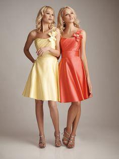 Pretty A-line natural waist satin dress for bridesmaid