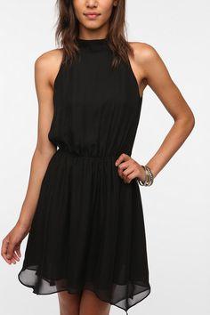 highneck chiffon, urban outfitters, style, the dress, dress urbanoutfitt, little black dresses, needl highneck, winter weddings, chiffon dresses