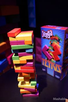 Combine board games and video games with these Tetris-themed Jenga tiles.