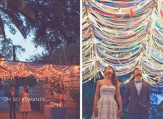 Adorable outdoor wedding roof idea for a dance floor, plus dance on the grass with hay bales to distinguish the dance area