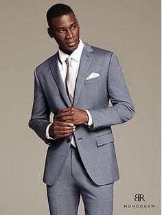 BR Monogram Textured Blue Wool Suit Jacket
