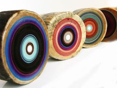 tree ring paintings on reclaimed wood by Tracy Melton, focuslineart on Etsy