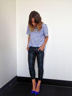 blue glitter pants, blue stripes and blue shoes