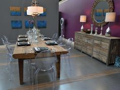 Modern rustic purple and gray dining room