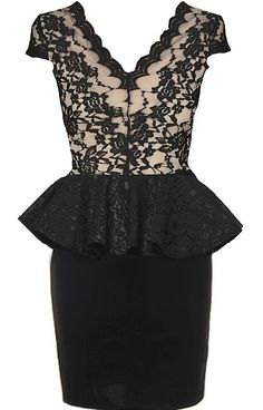 Front Row Dress: Features a beautifully scalloped lace décolleté framed by dainty cap sleeves, romantic black Italian lace bodice with contrast liner for pop, gorgeous lace peplum waist, and a perfectly-fitted skirt to finish.