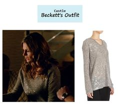 "On the blog: Kate Beckett's (Stana Katic) gray foiled v-neck sweater | Castle - ""The Greater Good"" (Ep. 619) #tvstyle #tvfashion #outfits #fashion"