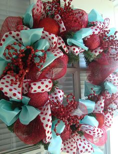 blue, red, and white Christmas decor is one of my favorites. it's reminds me of a mitten from the 70's. idk ;)