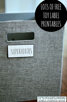 Pop these free printable labels on your toy bins/baskets with a dot of velcro for removable labeling. Via It's Overflowing