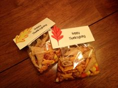 Thanksgiving Kids Snack Mix Bugles (look like little cornucopias), pretzel goldfish, cheese bunnies, and candy corn.