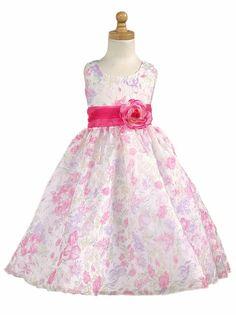 Pink Floral Organza Tencel Print Dress