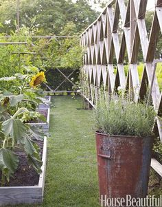 Vegetable Garden Fence Ideas | Outdoor Dining Rooms - Outdoor Entertaining Ideas - House Beautiful