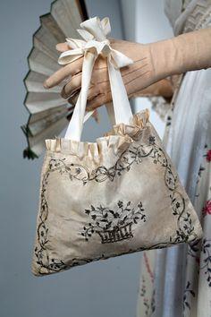 Florine, detail. Bag, silk taffeta, silver embroidery, France, 1790's. Private collection Barreto-Lancaster.