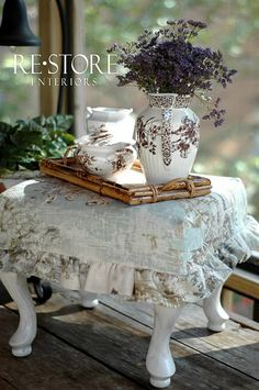 SLIP COVERED FOOT STOOL... how cute is this?!