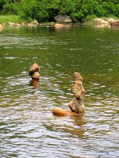 Stacked rocks in Deer Cove on the Yellow and Narragansett trails at #Yawgoog.  A 2014 image by David R. Brierley.