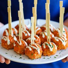 Slow Cooker Buffalo Chicken Meatballs - A lighter, healthier alternative to buffalo wings that you can easily make right in the slow cooker!