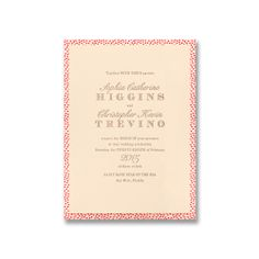 Swiss dot letterpress layered invitation on Lettra paper with back pocket and mushroom and magenta ink.